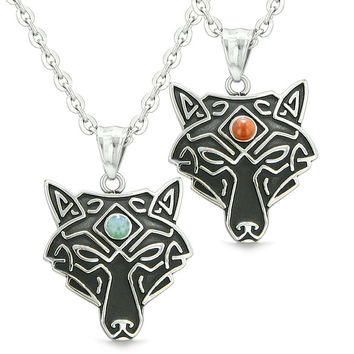 Celtic Wolf Third Eye Protection Magic Love Couple or Best Friends Set Green Quartz Red Jasper Necklaces