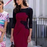 Lipsy Lace Applique Red Shift Dress