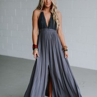 Carmen Crochet Front Slit Maxi Dress - Charcoal