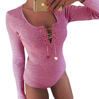 Autumn Winter Women Bodysuits Long Sleeve Chain Heart Tops Bandage Rompers Sexy Womens Jumpsuit Playsuit Bodycon Body Suit W2