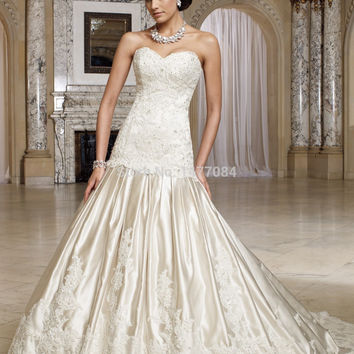 Elegant Dresses for Weddings Sweetheart Applique Corset Trumpet Backless Bridal Gowns Sleeveless 2015