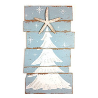 Happy Beach Christmas Tree Plankboard with Starfish Decorative Sign - 15-3/4-in x 9-in