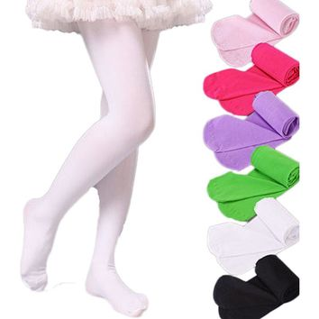 V-TREE Girls high elastic baby pantyhose child white ballet tights candy color girls stockings children's dance