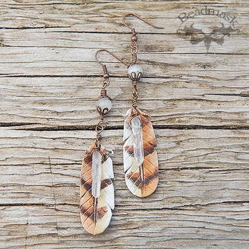 Moonstone and Owl Feather Earrings with Quartz Crystal Points - Handcrafted Leather Jewelry