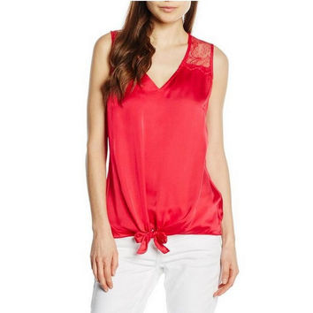 Floral Lace Design Sleeveless T-Shirt