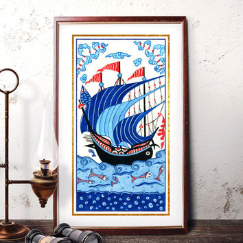 Traditional Istanbul Blue Galleon Home Decor, Ottoman Ship Iznik Watercolor Art, Turkish Ottoman Galleon Prints and Original Painting 022