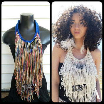 Fringe Necklace, Bohemian, Hippie, Gypsy, Brown and Blue,  Bib Necklace, Festival Wear, Tribal, Ethnic, Chestplste
