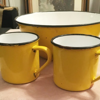 Yellow Enamelware Bowl and Cups, Made in Japan, Black rim, Metal Bowl, Metal cups, Camping dinnerware, metal coffee cups