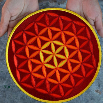 Large Flower of life mandala patch sew on fabric badge red orange yellow sacred geometry funky psychedelic festival hippie bag jacket patch