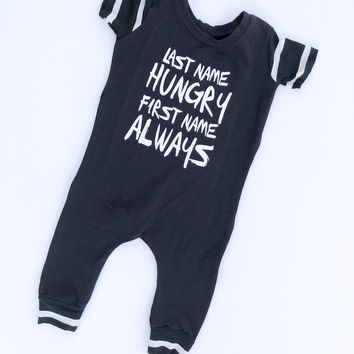 Always Hungry Romper - Black + White Striped