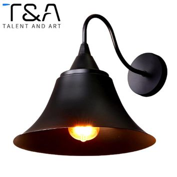 E27 Antique European Style Black Shade Iron Hat Wall Lamp For Loft Bar Restaurant Kitchen Room Cafe Retro Wall Sconce Light