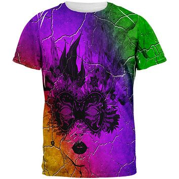 Mardi Gras Party Mask Distressed Grunge Flag All Over Mens T Shirt