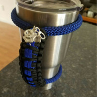 Thin Blue Line Handle for 40 oz Ozark Trail Tumbler. With Charms!