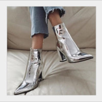 Hot style patent leather, pointy, thick, high-heeled zipper rider boots