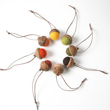"Set of felted wool acorns in harvest hues.  8 Autumn colors, Fall decor.  Large caps 1"" diameter"