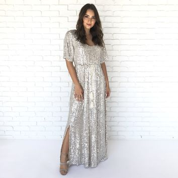 Cosmo Crystal Sequin Maxi Dress