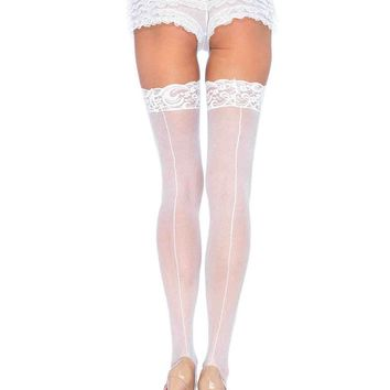 Plus Size Sheer Stocking with Back Seam Lace Top