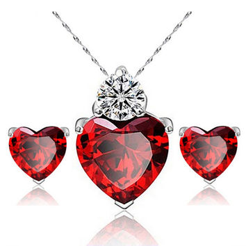 Sincere Heart Pomegranate Balas Zircon Pendant Jewelry Set