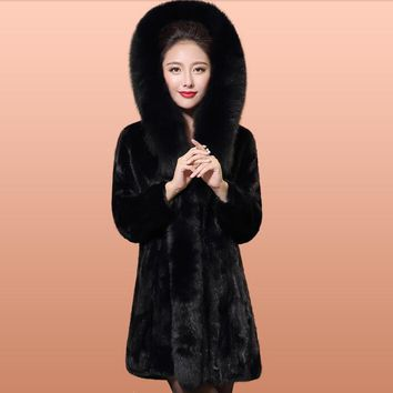 Natural MInk Fur Coats Jackets Women Real Genuine Fox Fur Outerwear For Women Plus Size 5XL Furs Coats