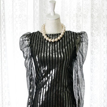 MOTHERS DAY SALE Sale -Chic urban metallic puff shoulder sheer sleeves Stripes tulle Blouse 2 ways Black Silver