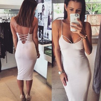 Sexy Wrap Bodycon Dress Fashion Back Cross Sling Strap Summer Dress Women Stretchable Slim Knee-length Bandage Dress Black Red