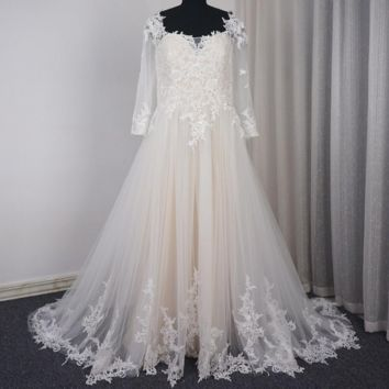 Wedding Dress With Three Quarter Sleeve Illusion Back A line Tulle Lace Champagne lining