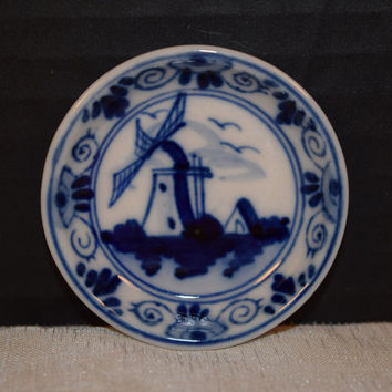 Delfts Blue Mini Plate Vintage Delft Dutch Butter Pat Plate Ring Holder Pin Dish Trinket Tray Delft Dutch Collectible Miniature Collectible