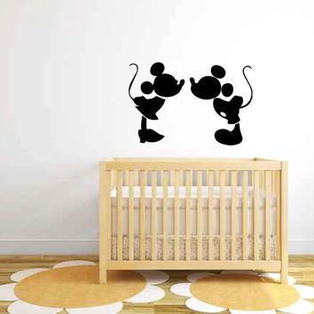 Mickey and Minnie Mouse Silhouette Vinyl Wall Decal Sticker Graphic