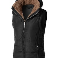 LE3NO Womens Basic Padded Puffer Quilted Jacket Vest with Hoodie