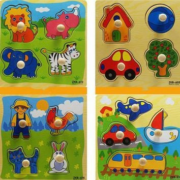 Wooden Puzzles For Children Educational Toys Animals Cartoon Grab  Knob Puzzles Toy