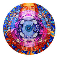 Vishuddha, Throat Chakra Round Print (Trippy Psychedelic Spiritual Colorful Marker Mandala Self-Expression Drawing with Symbols, Songbirds)