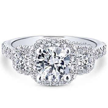 "Gabriel ""Lavender"" Three Diamond Halo Engagement Ring"