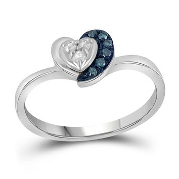 Sterling Silver Womens Round Blue Color Enhanced Diamond Small Simple Heart Ring 1/8 Cttw