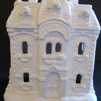 California Creations Plaster Hospital ~ Rare Christmas Village House