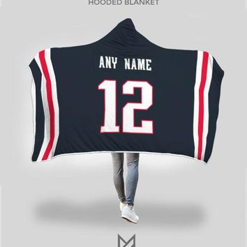 New England Patriots Hooded Blanket - Personalized Any Name & Any Number