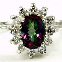 SR235, 1.5ct Mystic Fire Topaz set in a Sterling SIlver Ring w/ 12 CZ Accents