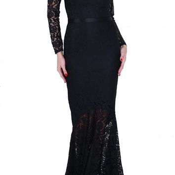 Honey Couture KAIYA Black Long Sleeve Off Shoulder Lace Formal Gown Dress