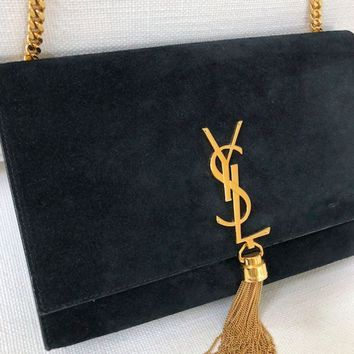 DCCK YSL SUEDE KATE BAG - BLACK GOLD