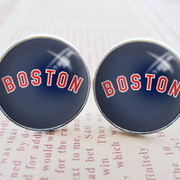 Unique Mens Cuff Links , Silver MLB Boston Red Sox Logo Cufflinks , Gift Box ,  Custom Cuff Links
