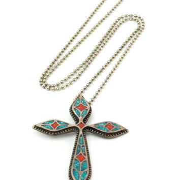 Vintage Silver Turquoise Coral Chip Inlay Cross Pendant Necklace