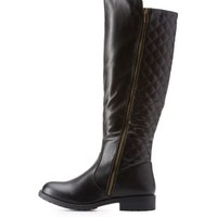 Black Quilted Lug Sole Riding Boots by Charlotte Russe