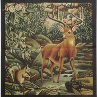 Squirrel & DEER on NATURE Handmade 2x3 Tapestry Rug