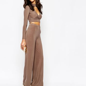 Boohoo Key Hole Top Palazzo Trouser Co-ord Set