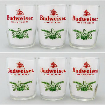 "1950's Vintage / Budweiser Beer Glass / Pilsner Glass / 4oz / 3-1/4"" / Green Acorn Sprig / King of Beers / Anheuser Busch / Set of 6"