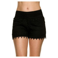 Curvy Lace Crochet Shorts, Black. (Size 2XL)
