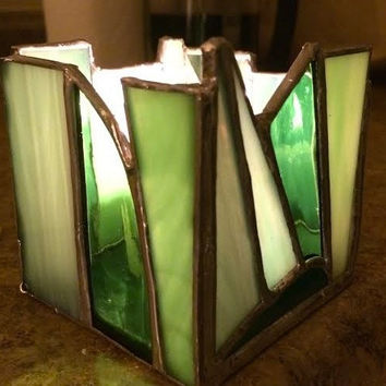 Abstract Stained Glass Candle Holder Candle Shelter Votive