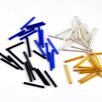 Bugle Beads Loose - Tube - Barrel - Assorted Colours - Blue Black Silver Gold - 25mm - Jewellery & Craft Supplies - 25 pcs - DeeDeeSupplies
