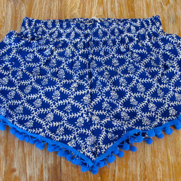 Pom Pom Shorts - Cobalt Blue Ladder Print with Large Cobalt Pom Pom's