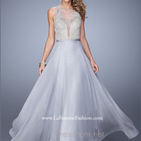 La Femme Beaded Lace Prom Gown 21212