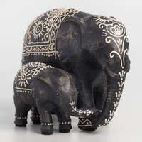 Mom and Baby Elephants Statue